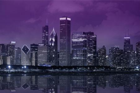 Фотообои Ночной город фиолет (city-0001344)