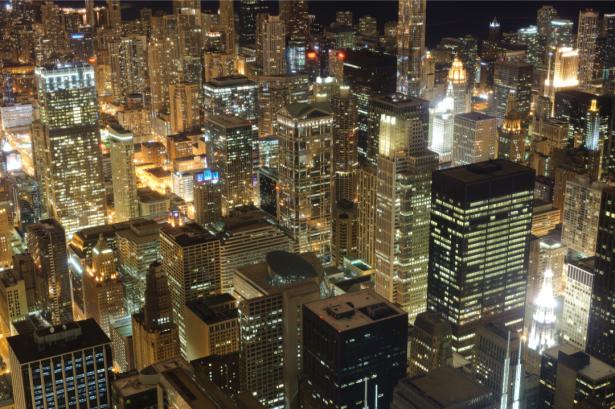 Ночной город небоскребы фотообои (city-0001349)