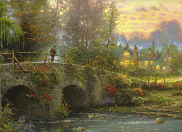 Фотообои мостик сельский пейзаж (fantasy-0000078)