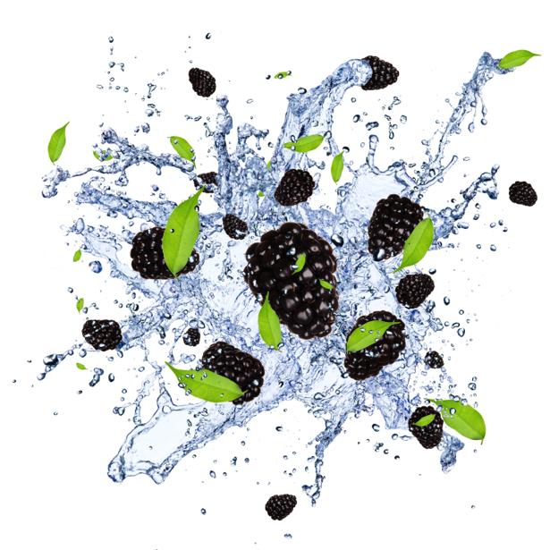 Фотообои кухня ежевика в брызгах воды (food-0000128)