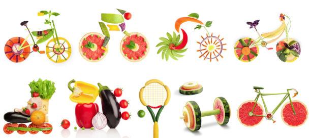 Фотообои для кухни спорт из овощей (food-0000312)