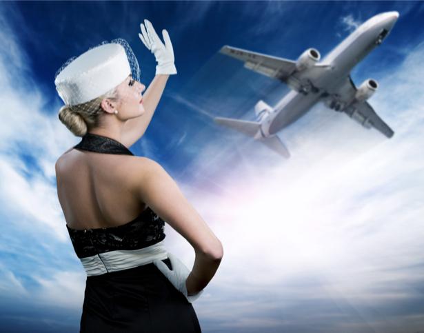 Фотообои девушка и самолет ретро (glamour-0000082)
