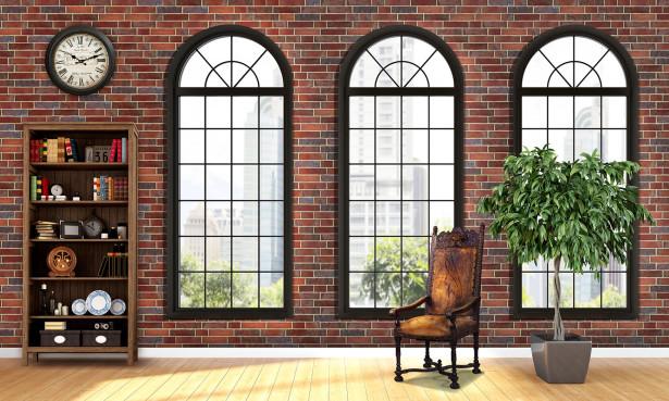 Фотообои стена с арочными окнами (loft-4)