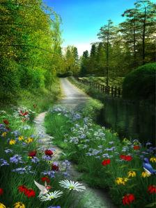 Фотообои цветы дорога лес (nature-00543)