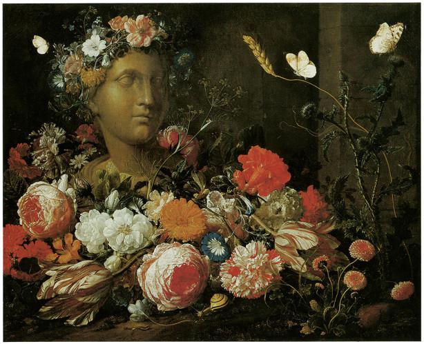 цветы в вазе натюрморт картина Флорилегиум печать на холсте (pf-113)