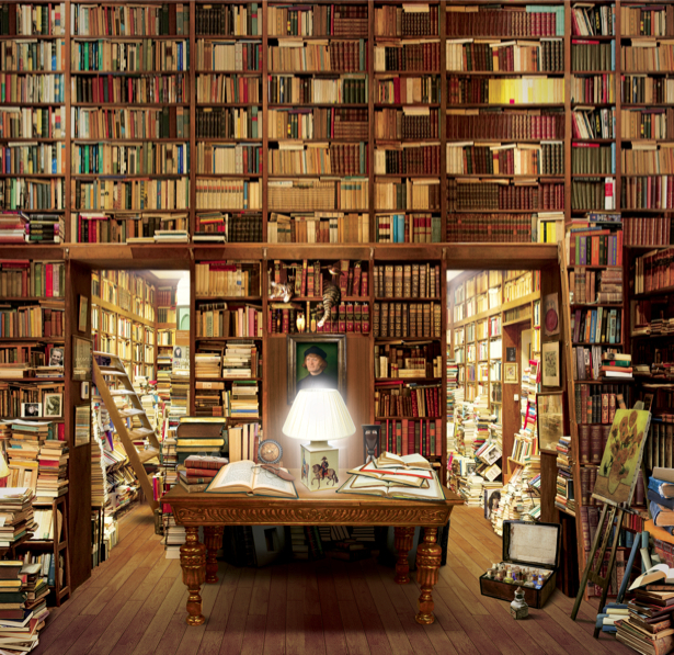 Фотообои в интерьер фотообои библиотека книги printmaking-00.