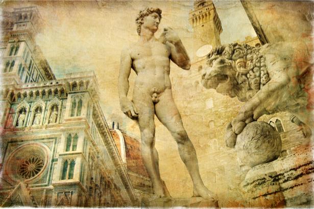 Фотообои в зал фреска Италия (retro-vintage-0000032)