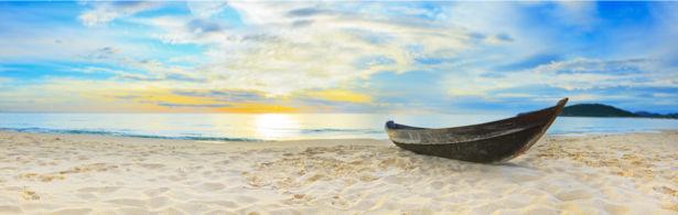 Фотообои море песчаный берег лодка (sea-0000313)