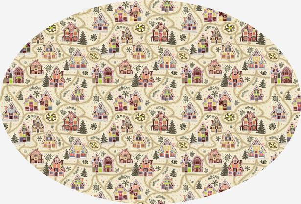 Скатерть овальная Сельские домики (203-2)