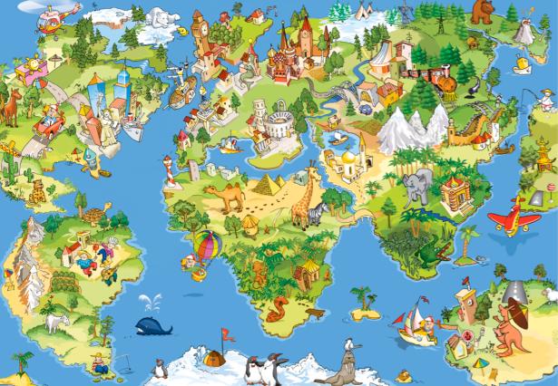 Фотошторы детская карта мира (children-curtain-00020)