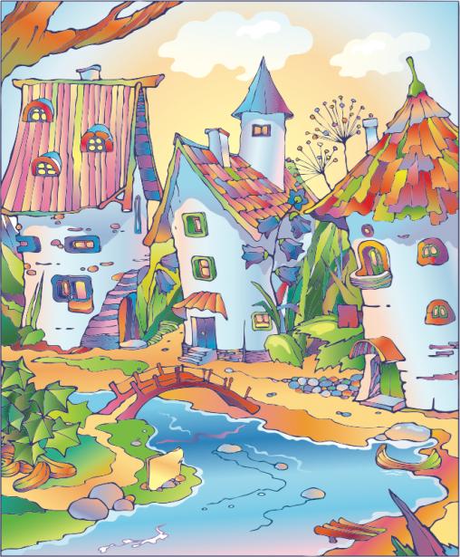 Фотошторы сказочные домики (children-curtain-00022)