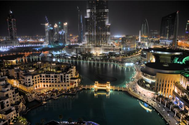 Фотообои ночные небоскрёбы дубай (city-0001178)