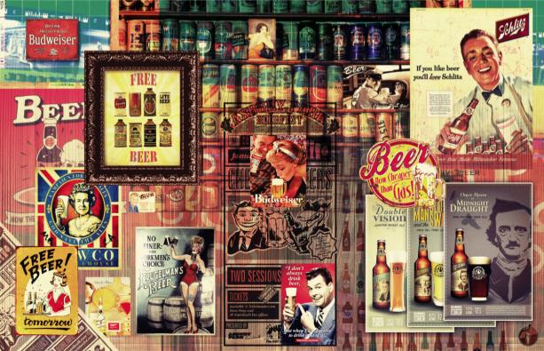 Фотообои бар пиво плакаты винтажные (commercial-00002)