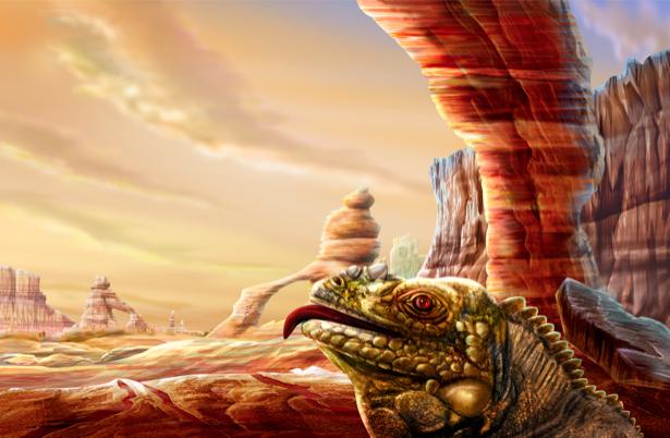 Фотообои ящерица в горном ландшафте (fantasy-0000007)
