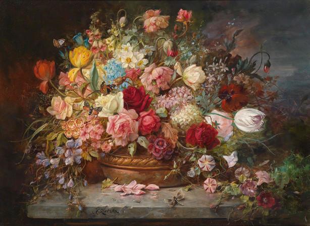 Картина букет цветов в медной вазе (pf-122)