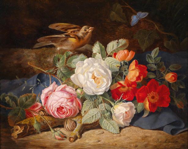 Картина букет роз и птица (pf-141)