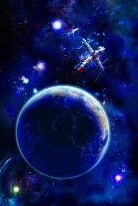 Фотообои звезды и космический корабль (space-0000060)