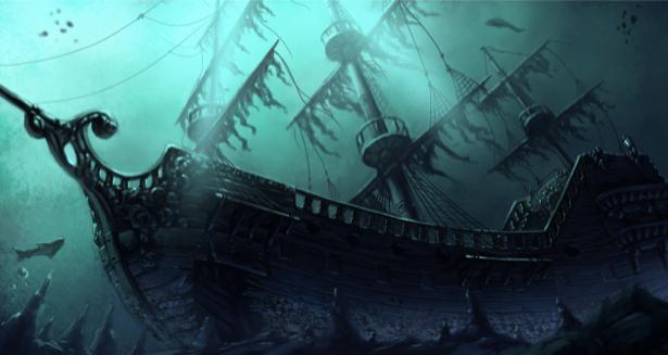 Фотообои потопленный корабль под водой (transport-0000191)