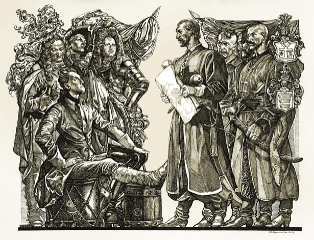 П. Орлик читает Конституцию Украины в кругу соратников и шведского короля Карла XII (ukraine-0059)