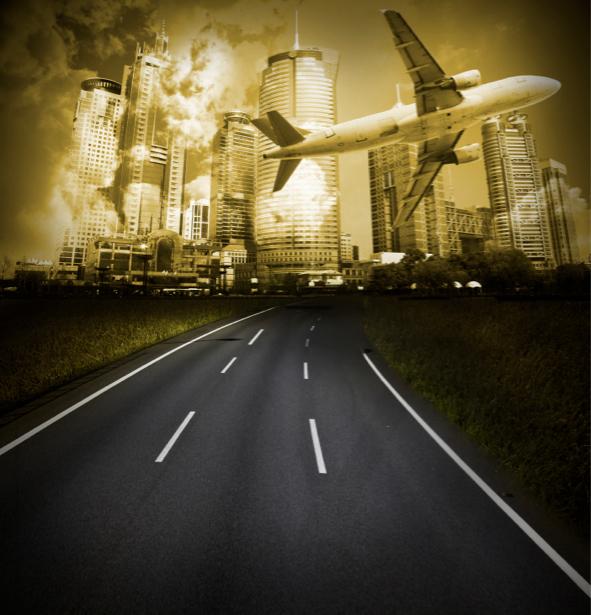 Фотообои вечерний небоскребы, дорога (city-0000038)