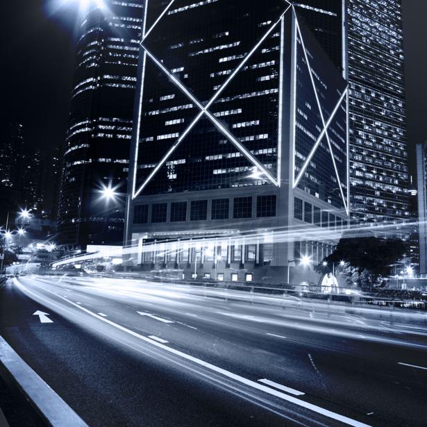 Фотообои ночной город небоскребы дорога (city-0000456)