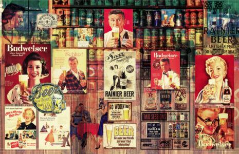 Фотообои бар винтаж, пивные плакаты (commercial-00003)