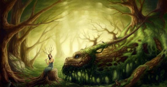 Фотообои нимфа и дерево ящерица (fantasy-0000010)