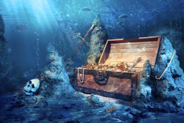 Фотообои сундук с сокровищами на дне моря (fantasy-0000046)