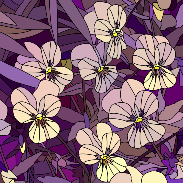 Фото обои цветы фиолет Витраж (flowers-0000692)