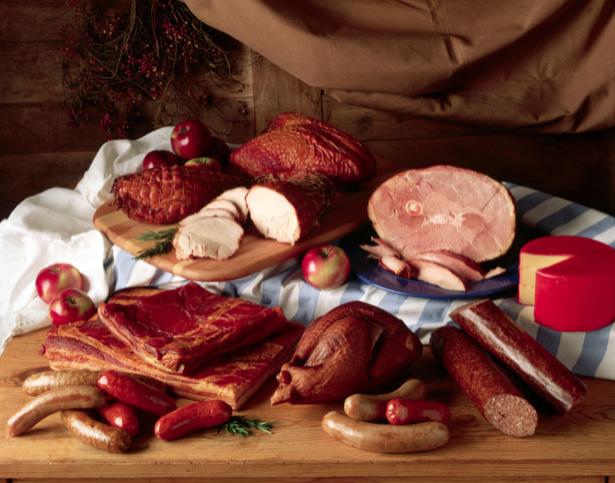 Фотообои для кухни колбасы копчености (food-0000121)
