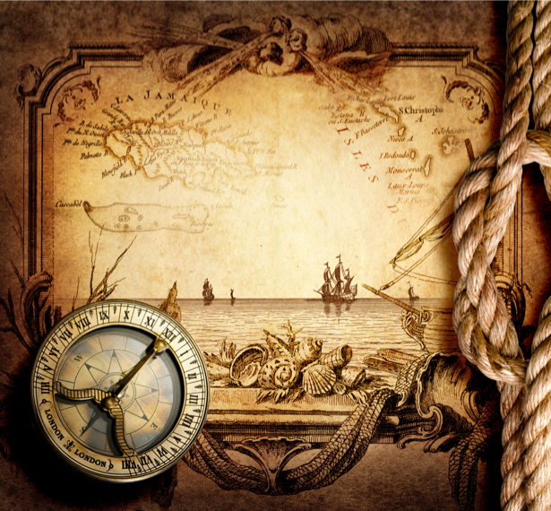 Фотообои в зал старая карта компас (map-0000217)