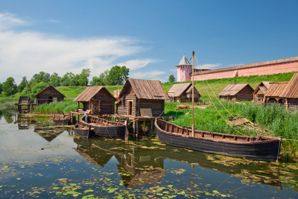 Фотообои сельский пейзаж на реке (nature-00073)