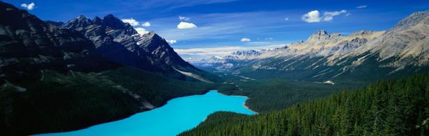 Фотообои альпийская панорама река горы (nature-00288)