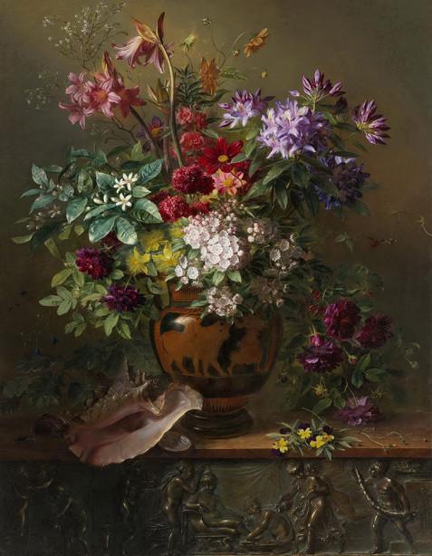 Картина с цветами в греческой вазе (pf-132)