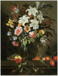 Ваза с цветами и фруктами якоб маррел (pf-78)