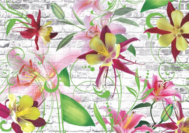 Фотообои цветы на стене в спальню (printmaking-0000041)