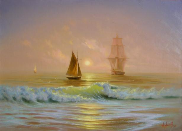 Фотообои живопись парусник в морском закате (transport-0000048)