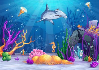 Фотообои для ванны рисунок акулы (underwater-world-00186)