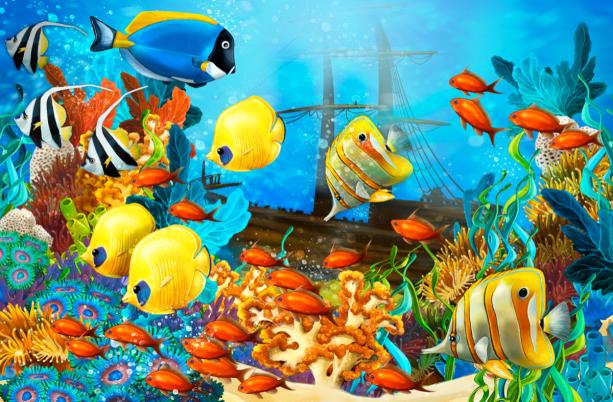 Фотошторы морские рыбки (bathroom-curtain-00006)