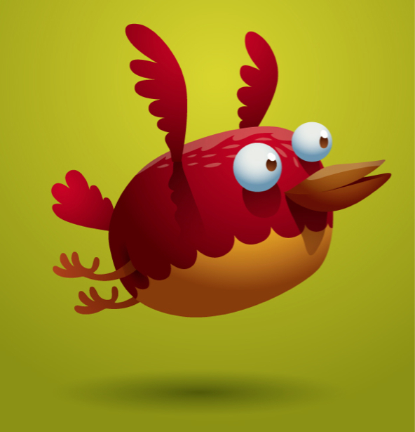 Птица красная фотообои детские (children-0000277)