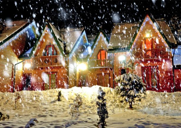 Фотообои рождественский домики огни (city-0000693)