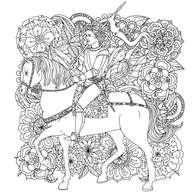 Обои раскраска Принц на белом коне (color-6)