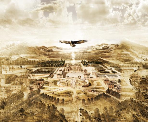 Фотообои Полет орла над городом (printmaking-0000015)