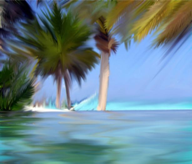 Фотообои море живопись пальмы (sea-0000116)