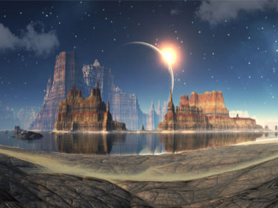 Фотообои фантастическая планета (space-0000046)