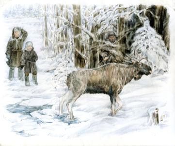 Иллюстрация Е. Гуцало - Лось (ukraine-0215)