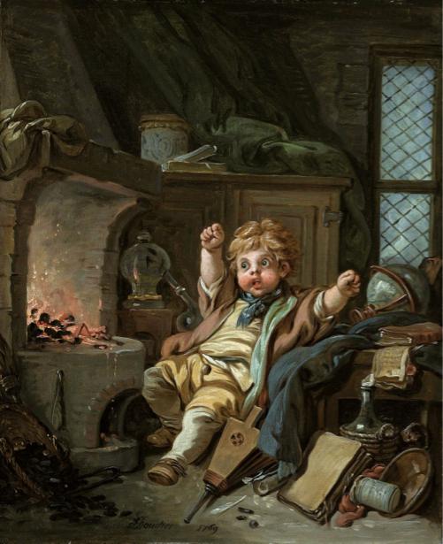 Картина амур возле камина (angel-00038)