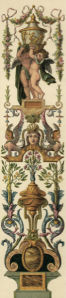 Фреска обои орнамент с амурами барокко (angel-00052)