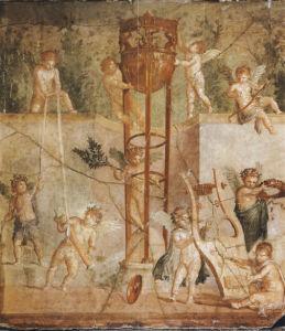 Фреска обои Амуры украшающие треножник (angel-00065)