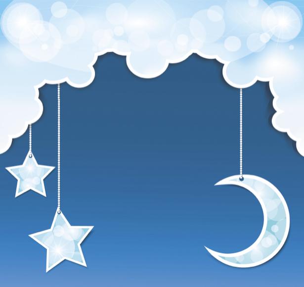 Детские фотообои небо месяц звезды (children-0000205)